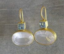 Blue Topaz and Rose Quartz Vermeil Earrings