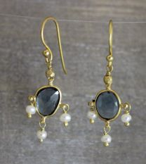 London Blue Topaz / Pearl Drop Earrings
