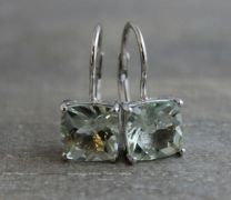 Prasiolite Silver Leverback Earrings