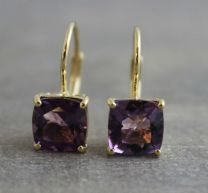 Amethyst Vermeil Leverback Earrings