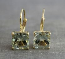 Prasiolite Vermeil Leverback Earrings
