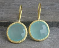 Aqua Chalcedony Vermeil Round Earrings