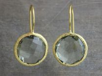 Prasiolite Vermeil Round Earrings
