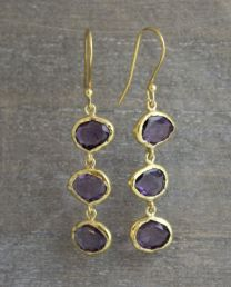 Amethyst Triple Drop Vermeil Earrings