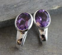 Amethyst Sterling Silver Leverbacks