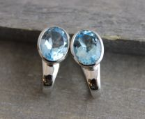 Blue Topaz Sterling Silver Leverbacks