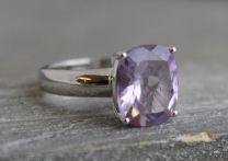 10x12mm Amethyst Silver Ring