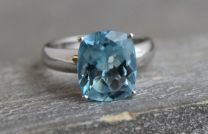 10x12mm Blue Topaz Silver Ring