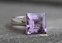 15mm Princess Amethyst Silver Ring