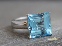 15mm Princess Blue Topaz Silver Ring