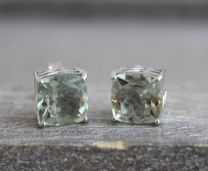 9mm Prasiolite Sterling Silver Stud Earrings