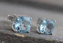 9mm Blue Topaz Sterling Silver Stud Earrings