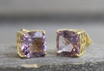 9mm Amethyst Sterling Gold Plated Silver Stud Earrings