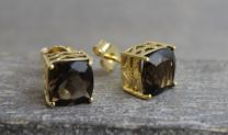 9mm Smoky Quartz Gold Plated Sterling Silver Stud Earrings