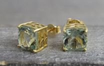 9mm Prasiolite Gold Plated Sterling Silver Stud Earrings