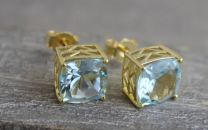 9mm Blue Topaz Goldl Plated Sterling Silver Stud Earrings