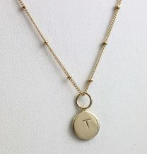 Vermeil Round Initial Necklace