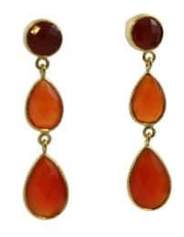 Julie Carnelian Triple Drop Post Earrings
