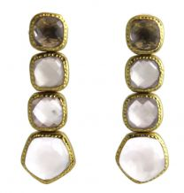 Laura Citrine / Rose Quartz Vermeil  Earrings
