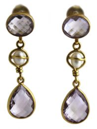 Lauren Amethyst / Pearl Vermeil  Earrings