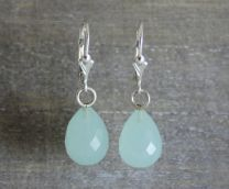 Aqua Chalcedony Briolette Leverback Earrings