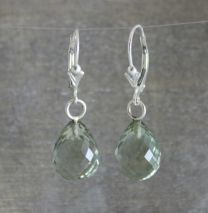Prasiolite Briolette Leverback Earrings