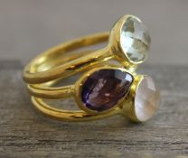 Prasiolite, Amethyst and Rose Quartz Gold Plated Sterling Silver Ring