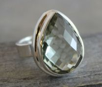 Prasiolite Statement Silver Ring