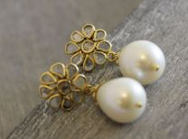 Floral Diamond Cultured Pearl Drop Post Earrings