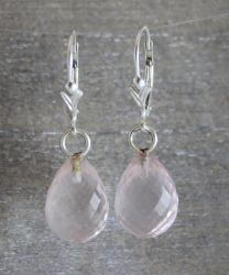 Rose Quartz Briolette Leverback Earrings