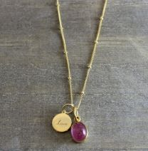 Vermeil Round Love Pink Tourmaline  Necklace