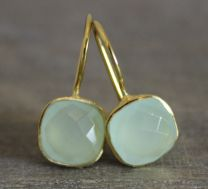 Iris  Aqua  Chalcedony Vermeil  Earrings