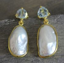 Blue Topaz and Pearl Vermeil Post Earrings