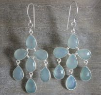 Aqua Chalcedony Sterling Silver Chandelier Earrings