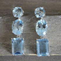 Blue Topaz Sterling Silver Long Post Earrings