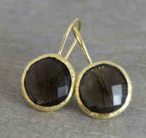 Smoky Quartz Vermeil Round Earrings