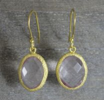 Rose Quartz Oval Shape Vermeil Earrings