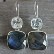 Blue Topaz and Labradorite Sterling Silver Earrings