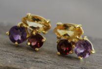 Citrine, Amethyst, Garnet Stud Earrings