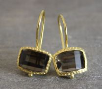 Smoky Quartz Step Cut Earrings