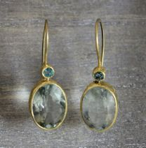 Emerald and Prasiolite Vermeil Earrings