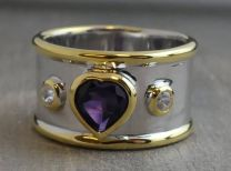 6mm Amethyst Heart Statement Ring