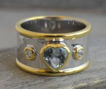 6mm Blue Topaz Heart Statement Ring