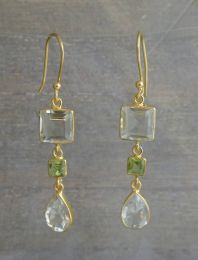Prasiolite and Peridot Vermeil Earrings