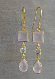 Rose Quartz and Blue Topaz Vermeil Earrings