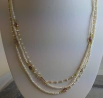 Cultured Freshwater Pearl and Tourmaline Vermeil Necklace 185cm
