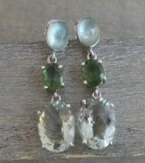 Prasiolite and Apatite Sterling Silver Post Earrings