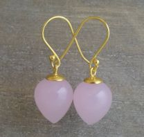 Pink Chalcedony Briolette Vermeil Drop Earrings