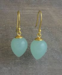 Aqua Chalcedony Briolette Vermeil Drop Earrings