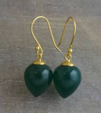 Green Chalcedony Briolette Vermeil Drop Earrings